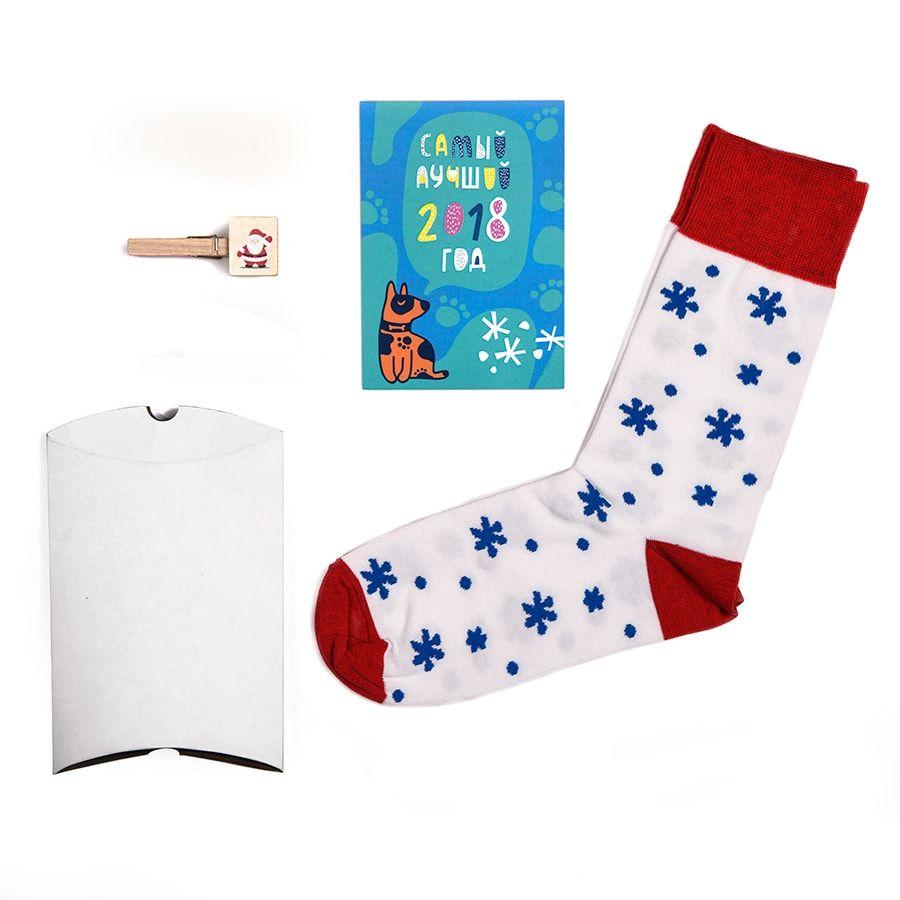 """Подарочный набор """"Зима"""": упаковка, прищепка с шильдом, календарь 2018, носки тематические"""