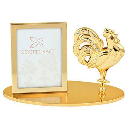 """Фоторамка Crystocraft """"Петух"""", с кристаллами, золотистого цвета"""
