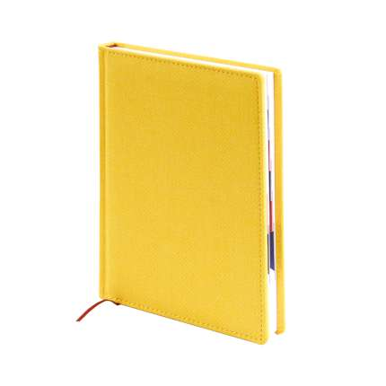 Ежедневник датированный, формат A5 (11.201-F332), Твид, цвет желтый, блок белый с вырубкой