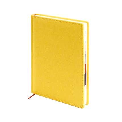 Ежедневник датированный, формат A5 (11.221-F332), Твид, цвет желтый, блок тонированный с вырубкой