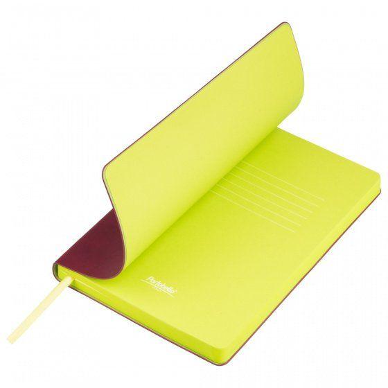 Ежедневник недатированный, Portobello Trend, Latte NEW, формат A5, бордовый с лимонным
