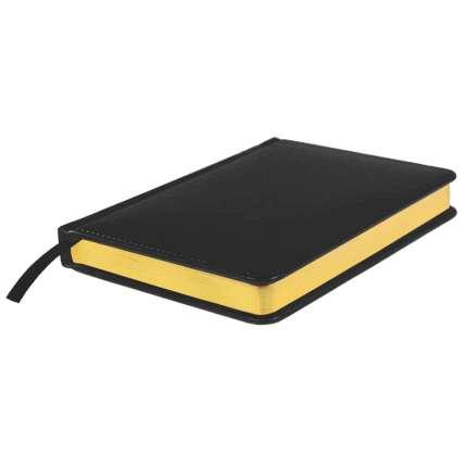 Ежедневник недатированный Joy, А5, чёрный, белый блок, золотой обрез