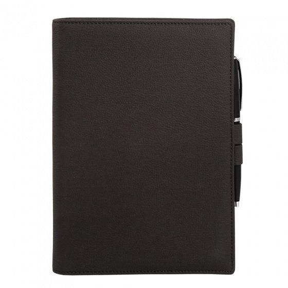 Ежедневник-портфолио недатированный Portobello, коллекция Clip, А5, коричневый, с ручкой Opera (чёрный/хром)