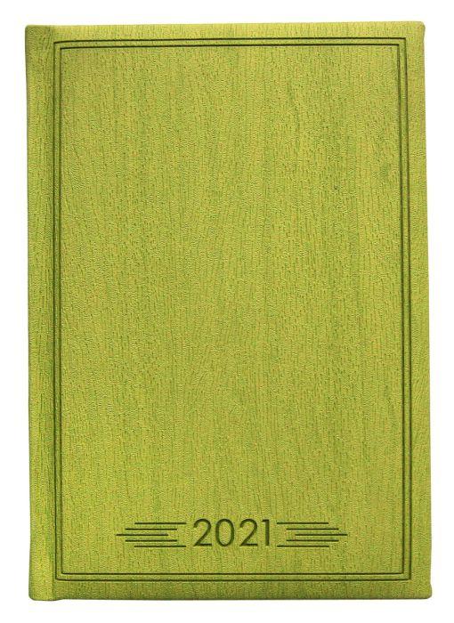 Ежедневник датированный 2021  Infolio Wood салатовый, обложка твердая с поролоном , размер А6+