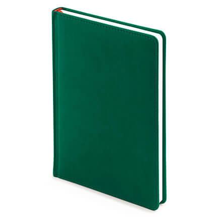 Ежедневник недатированный VELVET (АР), формат A5, белая бумага, цвет темно-зелёный