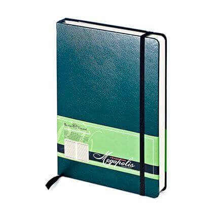 Ежедневник полудатированный MEGAPOLIS (АР), формат A5, бежевая бумага, с резинкой, цвет зеленый