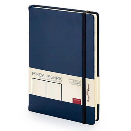 Ежедневник недатированный MEGAPOLIS VELVET (АР), формат A5, бежевая бумага, цвет темно-синий NAVY