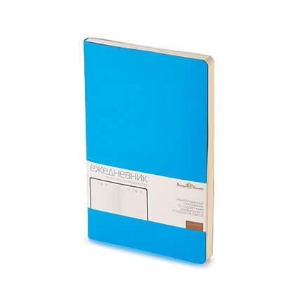 Ежедневник недатированный MEGAPOLIS FLEX (АР), с покрытием SOFT TOUCH, формат A5, бежевая бумага, цвет синий флюор