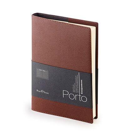 Ежедневник полудатированный PORTO (АР), формат A5, бежевая бумага, цвет коричневый