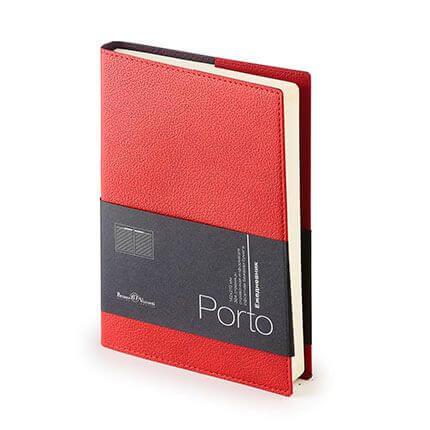 Ежедневник полудатированный PORTO (АР), формат A5, бежевая бумага, цвет бордовый