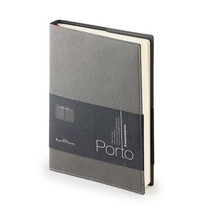 Ежедневник полудатированный PORTO (АР), формат A5, бежевая бумага, цвет серый