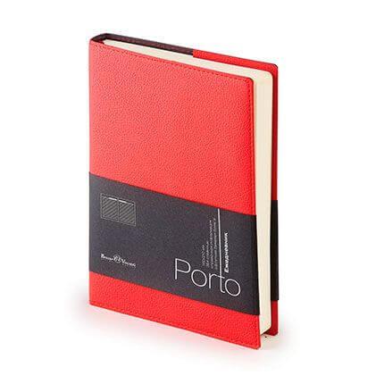 Ежедневник полудатированный PORTO (АР), формат A5, бежевая бумага, цвет красный