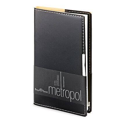 Еженедельник недатированный METROPOL (АР), формат A6, бежевая бумага, цвет черный