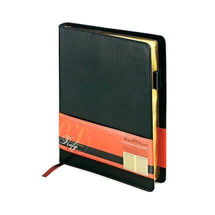 Ежедневник полудатированный PROFY (АР), формат A5, обрез золото, бежевая бумага, цвет черный