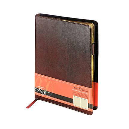 Ежедневник полудатированный PROFY (АР), формат A5, обрез золото, бежевая бумага, цвет коричневый