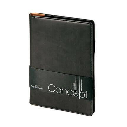 Еженедельник недатированный CONCEPT, с покрытием SOFT TOUCH, формат А5, бежевая бумага, цвет черный