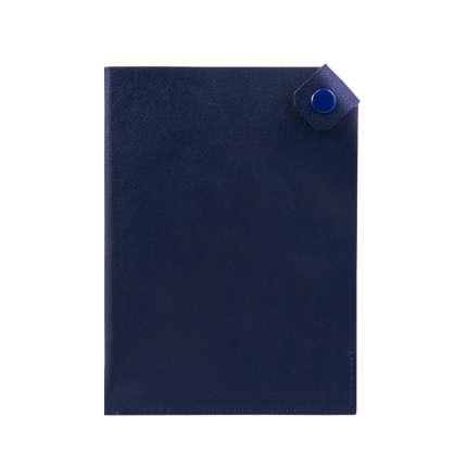 Чехол для паспорта PURE 140*90 мм., застежка на кнопке, натуральная кожа (гладкая), синий