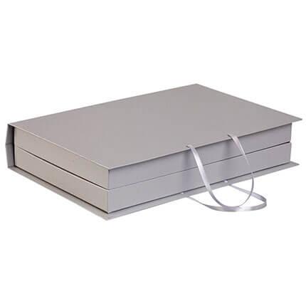 """Коробка """"Блеск"""" для набора из ежедевника формата A5, планинга и авторучки, цвет серебряный"""