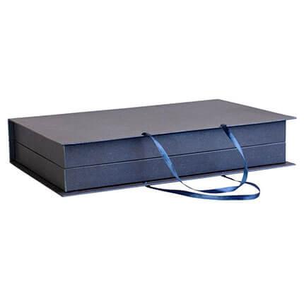 """Коробка """"Блеск"""" для набора из ежедевника формата A5, планинга и авторучки, цвет синий"""
