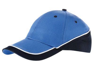 """Бейсболка """"Draw"""" 6-ти панельная, цвет небесно-голубой, цвет окантовки тёмно-синий с белым"""