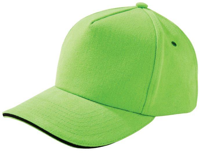 Бейсболка Unit Classic, зелёное яблоко с чёрным кантом