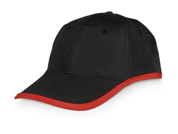 """Бейсболка """"Solo"""", чёрная с красной окантовкой"""