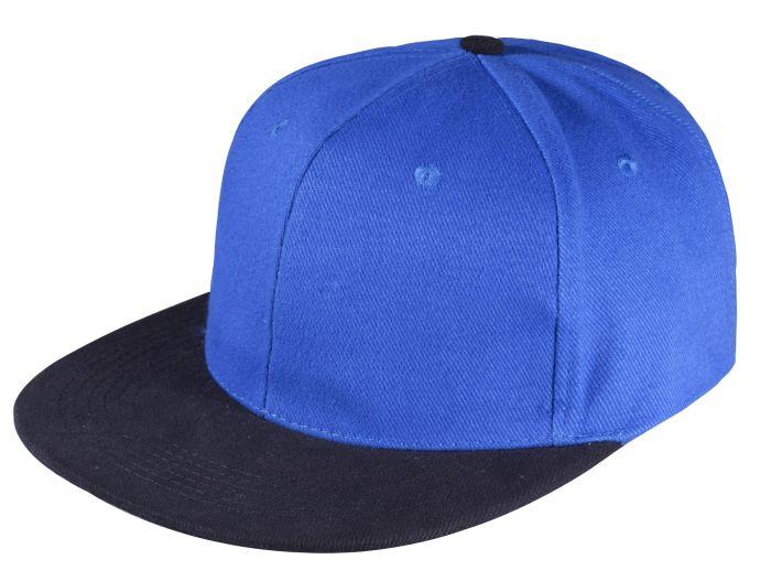 Бейсболка Unit Heat с прямым козырьком, двухцветная, ярко-синяя с черным