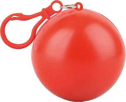 """Дождевик """"Универсал"""" прозрачный, цвет футляра в форме шара с карабином красный"""