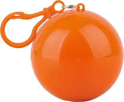 """Дождевик """"Универсал"""" прозрачный, цвет футляра в форме шара с карабином оранжевый"""