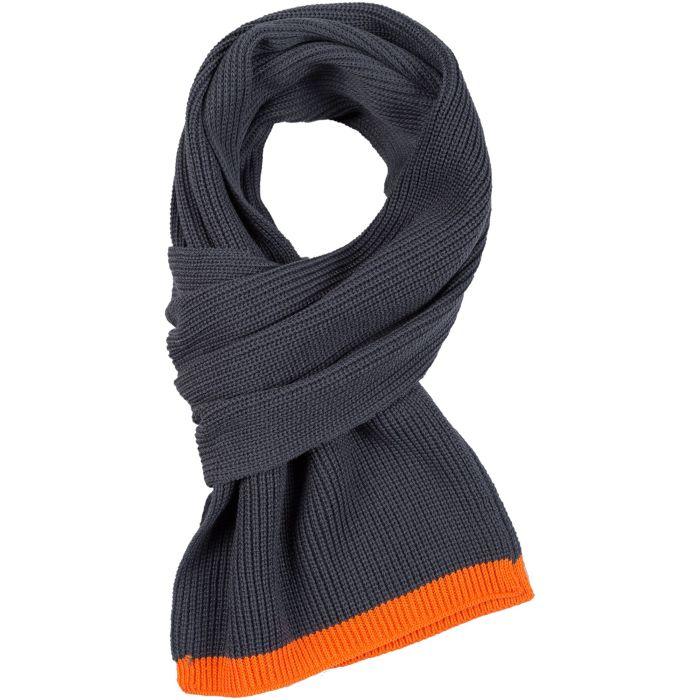 Шарф Amuse, серый с оранжевым