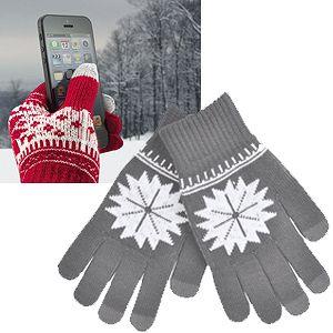 """Перчатки для сенсорных экранов """"СНЕЖИНКА"""", цвет серый"""