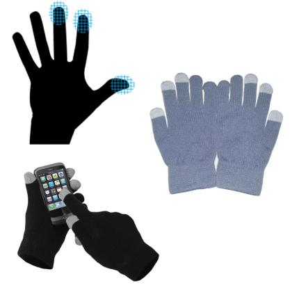 Перчатки для сенсорных экранов, однотонные, серые