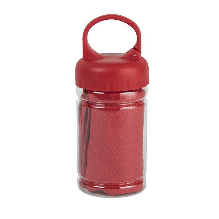 Полотенце спортивное в пластиковом боксе с карабином ACTIVE, красное