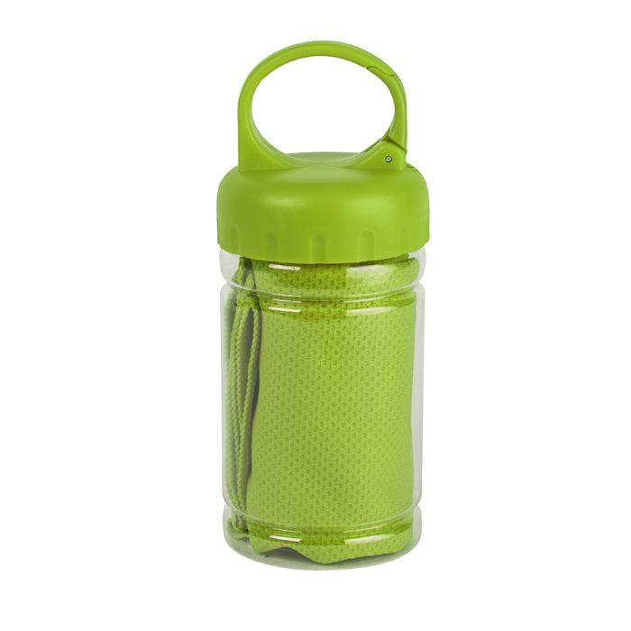 Полотенце спортивное в пластиковом боксе с карабином ACTIVE, зелёное