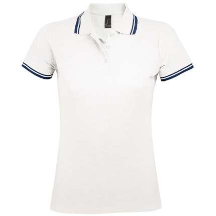 """Рубашка поло женская """"Pasadena Women"""", цвет белый с тёмно-синим, размер M"""
