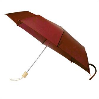 Набор: зонт складной с деревянной ручкой и флисовый шарф, темно-красный