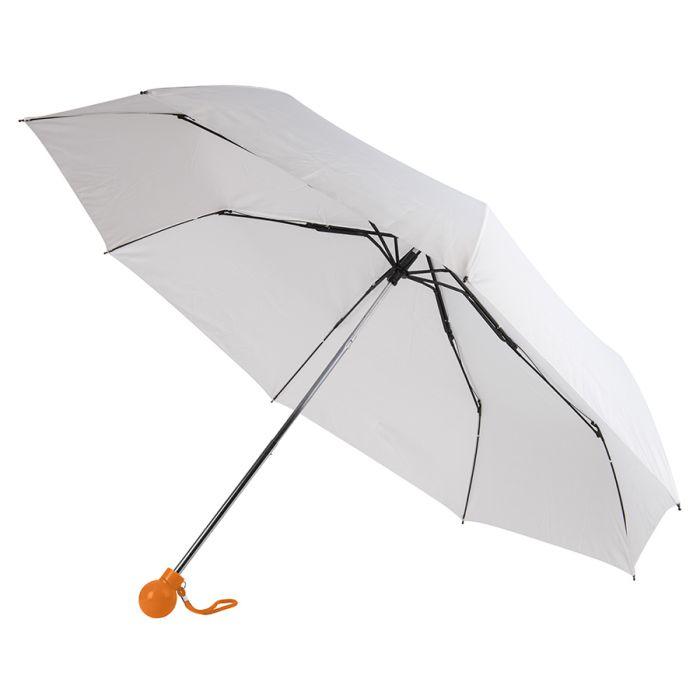 Зонт складной FANTASIA, механический, цвет белый/оранжевый
