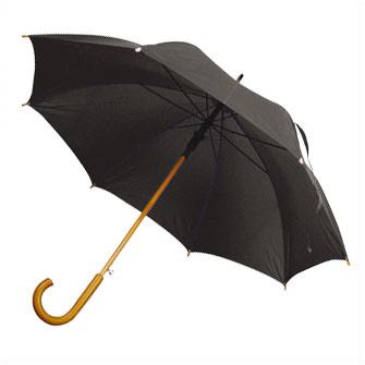 """Зонт-трость с деревянной изогнутой ручкой """"Хит"""", полуавтомат, цвет купола чёрный"""
