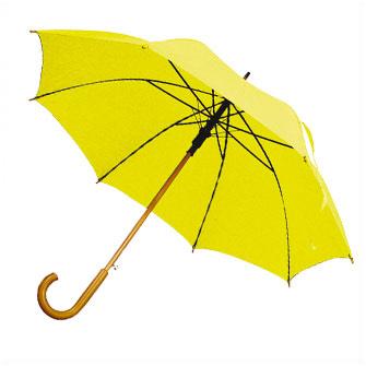 """Зонт-трость с деревянной изогнутой ручкой """"Хит"""", полуавтомат, цвет купола жёлтый"""