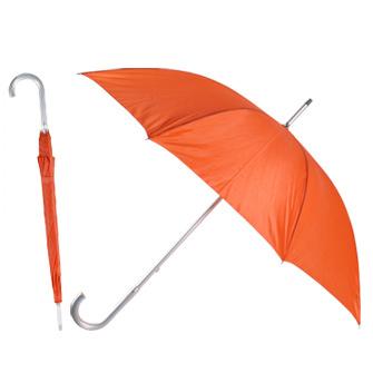 Зонт-трость с алюминиевой изогнутой ручкой. Ручное открытие. Красный