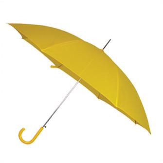 """Зонт-трость """"Эконом"""" с пластиковой изогнутой ручкой, полуавтомат, цвет ручки и купола жёлтый"""