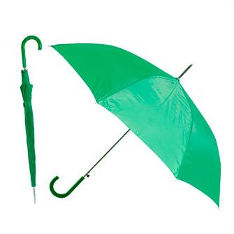 """Зонт-трость """"Эконом"""" с пластиковой изогнутой ручкой, полуавтомат, цвет ручки и купола зелёный 349 С"""