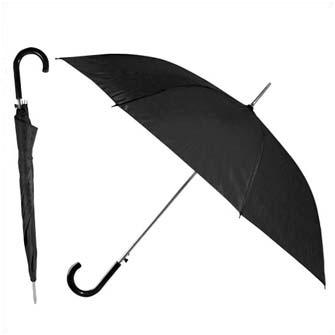 """Зонт-трость """"Эконом"""" с пластиковой изогнутой ручкой, полуавтомат, цвет ручки и купола чёрный"""