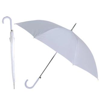 """Зонт-трость """"Эконом"""" с пластиковой изогнутой ручкой, полуавтомат, цвет ручки и купола белый"""