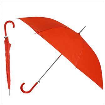 """Зонт-трость """"Эконом"""" с пластиковой изогнутой ручкой, полуавтомат, цвет ручки и купола красный"""