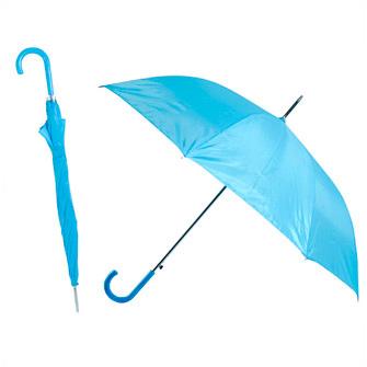 Зонт-трость с пластиковой изогнутой ручкой, полуавтомат, цвет ручки и купола голубой Cian С