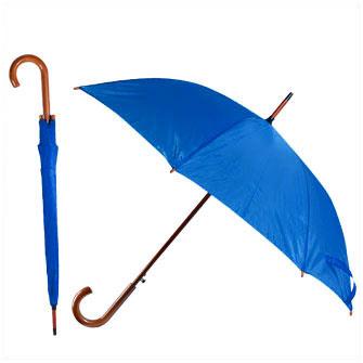 Зонт-трость с деревянной изогнутой ручкой, полуавтомат, цвет купола голубой 301 С