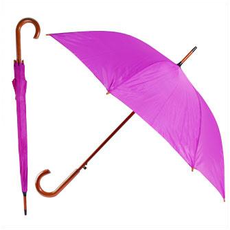 Зонт-трость с деревянной изогнутой ручкой, полуавтомат, цвет купола фиолетовый 254 С