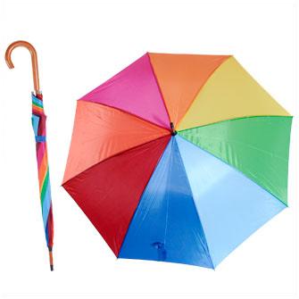 """Зонт-трость """"Радуга"""" с деревянной изогнутой ручкой, полуавтомат, 8 разноцветных панелей"""