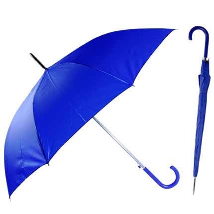 """Зонт-трость """"Эконом"""" с пластиковой изогнутой ручкой, полуавтомат, цвет ручки и купола синий 293С"""
